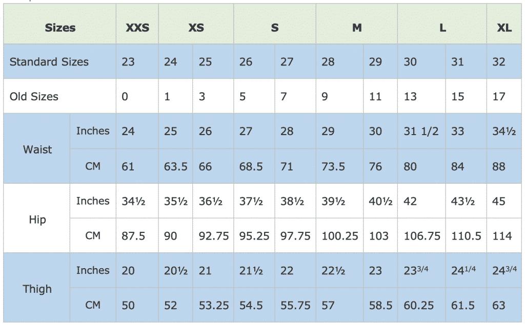 Jean Size Chart